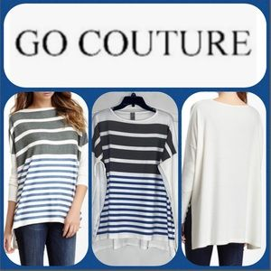 Go Couture Printed Elbow Patch High/Low Sweater